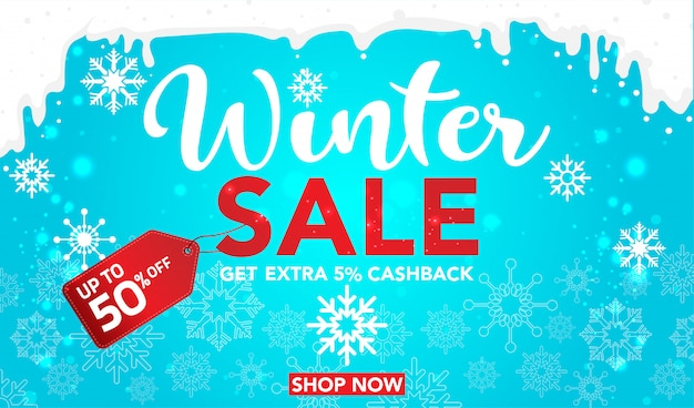 Winter sale banner template with snowflakes on blue background