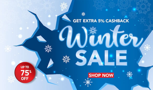 Winter sale banner template with snowflakes