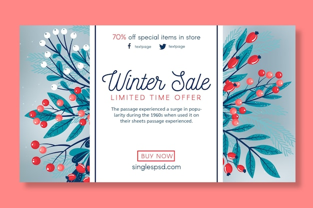 Зимняя распродажа баннер шаблон
