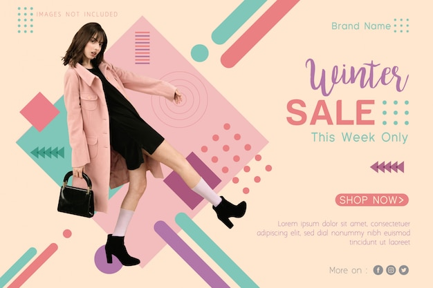 Winter sale banner template