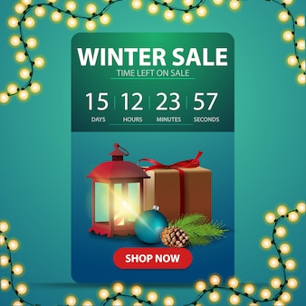 Winter sale banner with countdown