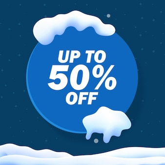 Winter sale banner with snow cap, snowflake and glitter background. gradient mesh snow landscape. vector illustration.