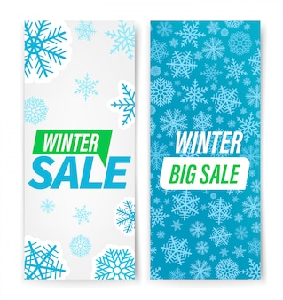 Winter sale banner with snowflakes set