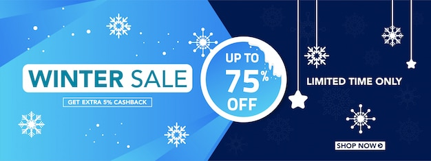 Winter sale banner with snowflakes