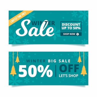 Winter sale banners in flat design