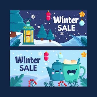 Зимняя распродажа баннеры в плоском дизайне