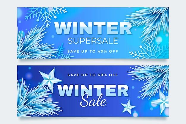 Banner di saldi invernali pack in stile realistico