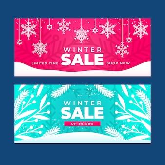 Набор баннеров зимней распродажи