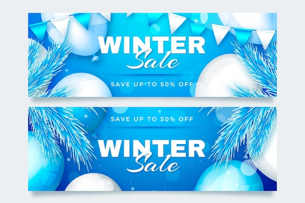 Winter sale banners set in realistic style