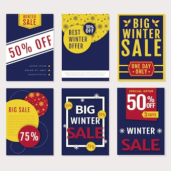 Winter sale banners set