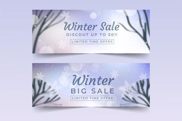 Banner di vendita invernale con pacchetto di elementi sfocati