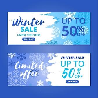 Banner di vendita invernale con raccolta di elementi disegnati