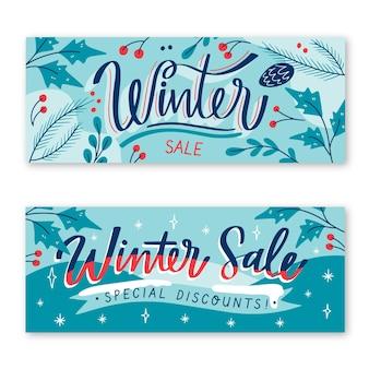 Banner di vendita invernale con pacchetto di elementi disegnati a mano