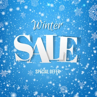 Winter sale blue banner with snow
