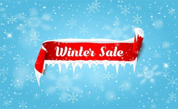 빨간 새틴 리본과 눈 배경으로 겨울 판매 블루 프로모션 포스터