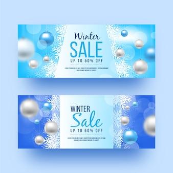 Зимняя распродажа размытых баннеров