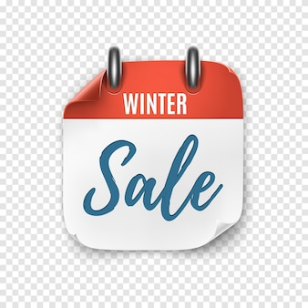 Winter sale. calendar template for your projects. realistic calendar icon. vector illustration.