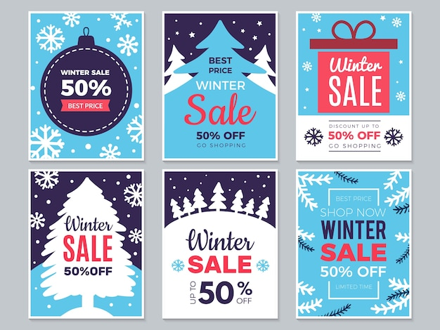 Winter sale cards. christmas promo banners big discounts and special season offers  labels