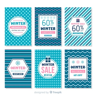 Winter sale cards set
