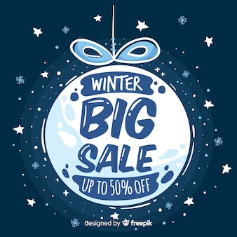 Winter sale cold tones ball background