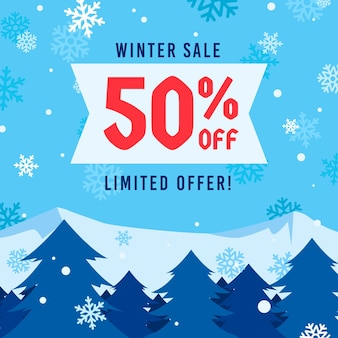 평면 디자인에 겨울 판매 개념