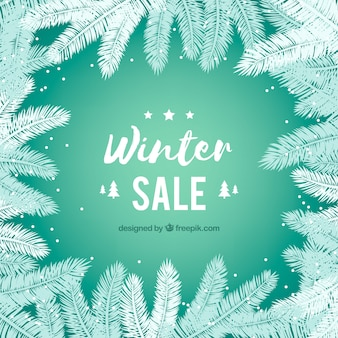 Winter sale design with fir branches