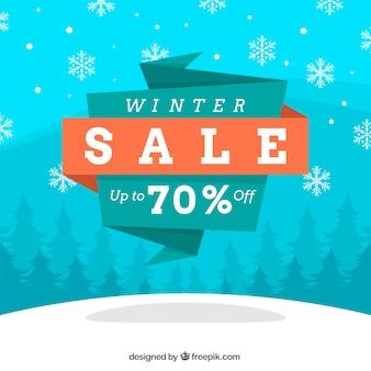 Winter sale design with origami label