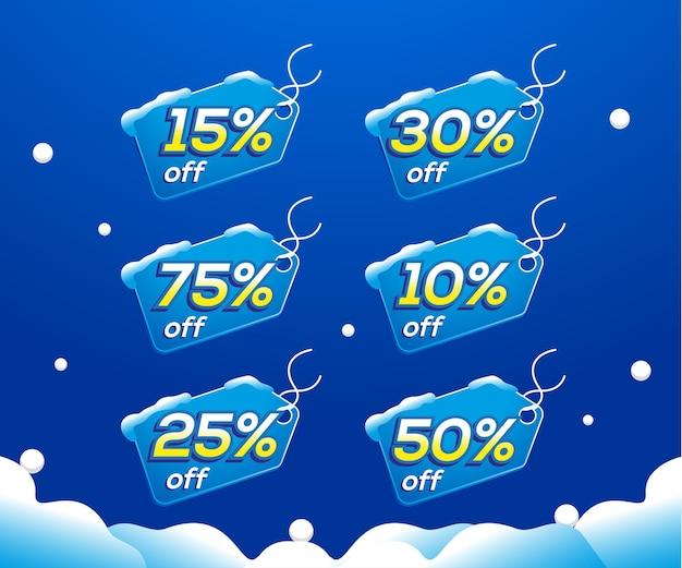 冬のセール割引ラベルまたは値札コレクション