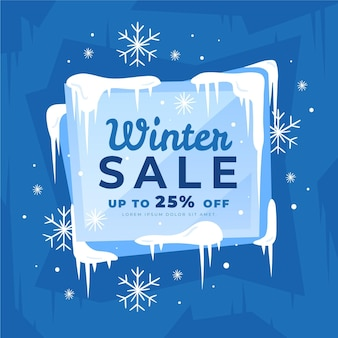 Winter sale discount with drawn snowflakes