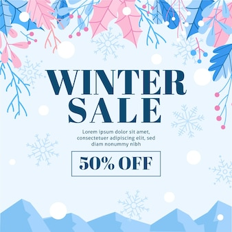 Winter sale discount with illustrated elements