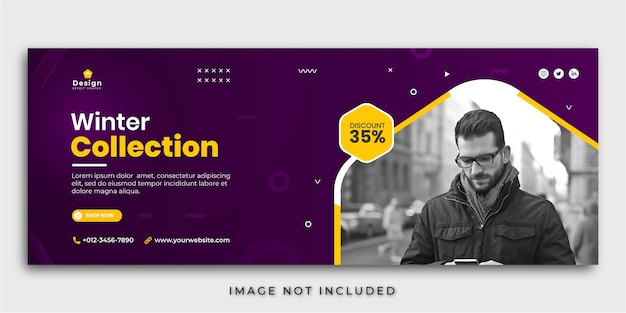 Winter sale facebook cover social media post banner template