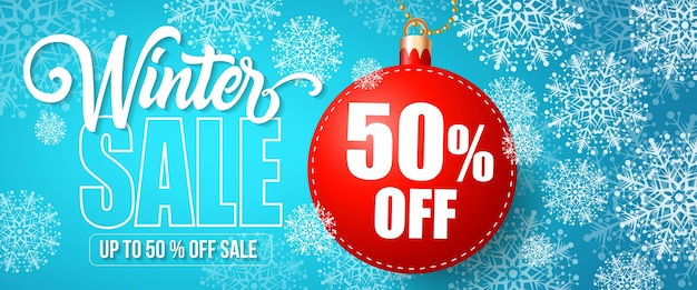 Winter sale fifty percent off lettering