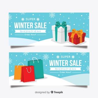 Winter sale flat banner template