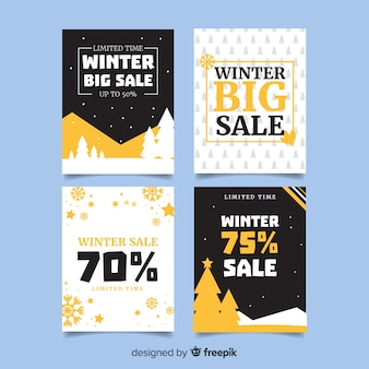 Winter sale flat cards collection