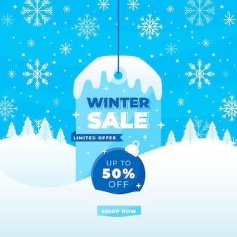 Winter sale in flat design
