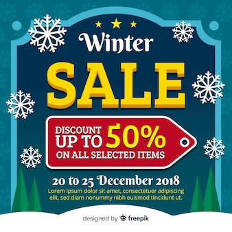 Winter sale flat label background