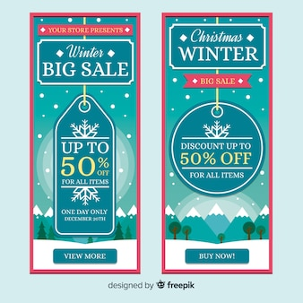 Winter sale flat label banner