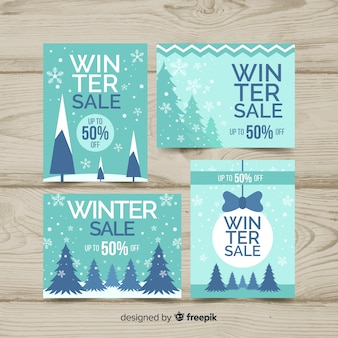 Winter sale flat labels