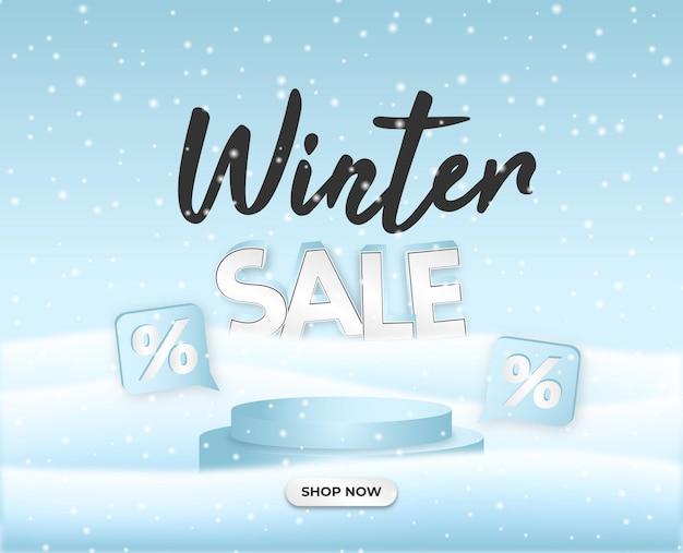 Winter sale flayer white podium 3d 스노우 힐