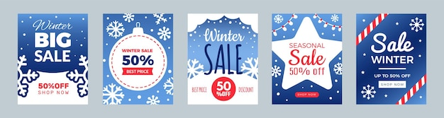Winter sale flyers. promo cards, season discount banners. christmas or new year shopping banners vector set. illustration holiday promo template card, seasonal discount