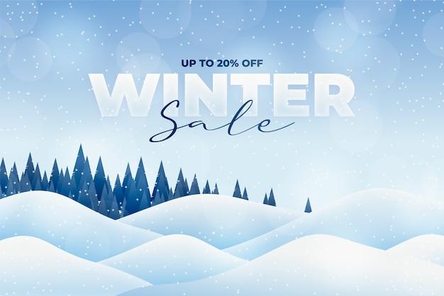 Зимняя распродажа лесной баннер