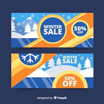 Winter sale frozen lake banner