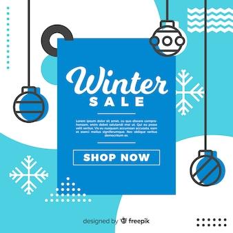Winter sale geometric elements background