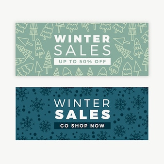 Winter sale hand-drawn banners