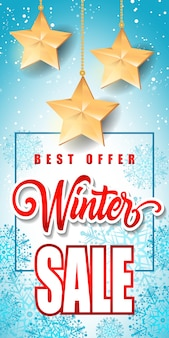 Winter sale inscription with stars