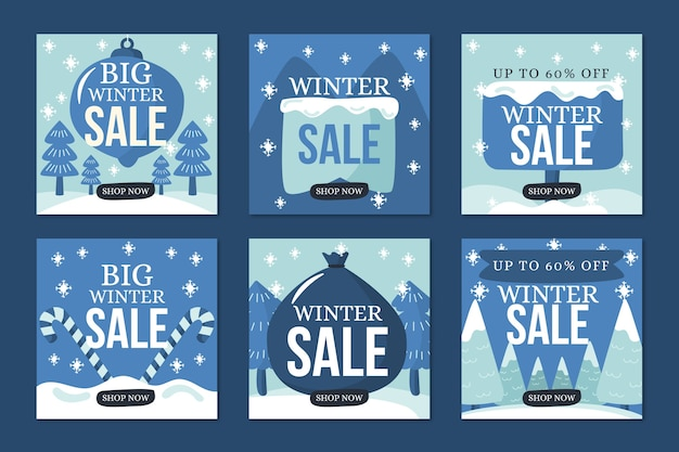 Winter sale instagram post collection in blue snowy shades