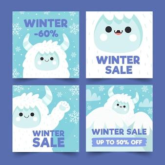 Collezione di post instagram di vendita invernale