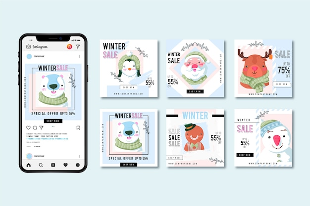Winter sale instagram post pack