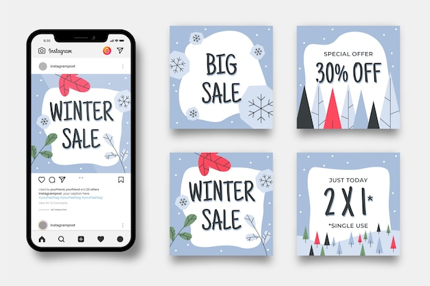 Winter sale instagram post set