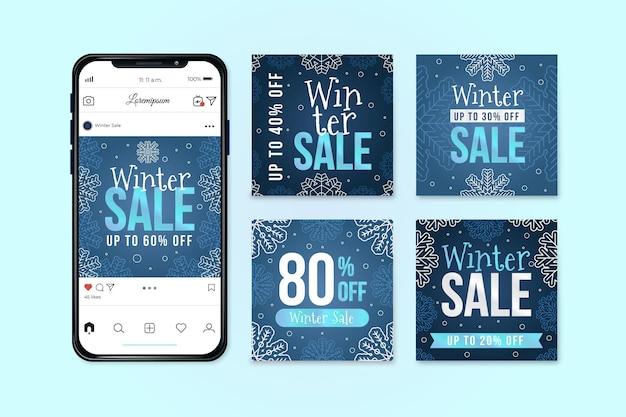 Шаблон сообщения instagram зимняя распродажа
